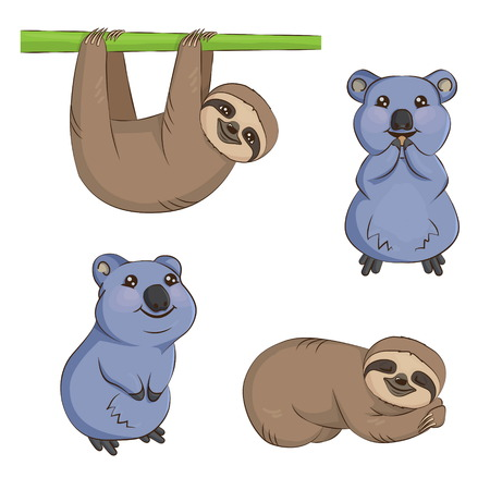 A set of cute cartoon smiling lazy sloth australian quokka animal characters in different positions. Sloth on the tree, sleeping, eating and smiling quokka.