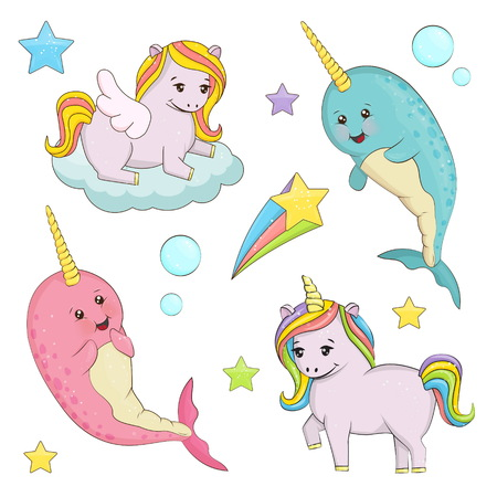 A set of cute magic fairy tale creatures illustrations. Unicorn with rainbow hair, pegasus on the cloud, narwhal unicorn whale fishes. Holiday and event decorations, design elements.