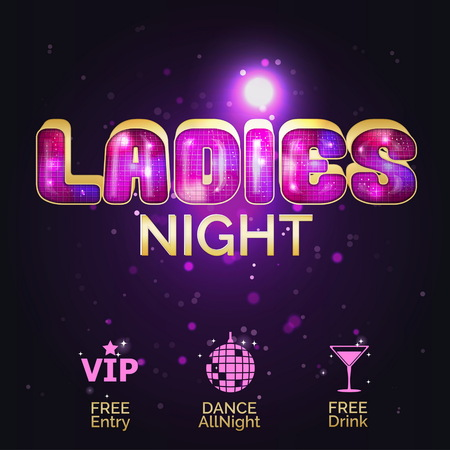 Glowing disco pink and gold advertising customisable template for ladies night out. Special offer for women at night club, bar or festival party.