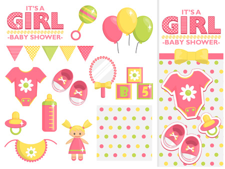 It is a girl baby shower items collection for party, event decoration. Design elements for cards and invitations and template. Pink colored baby clothes, toys for girls and other baby goods. Stock Photo