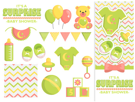 It is a surprise baby shower items collection for party, event decoration. Design elements for cards and invitations and template. Green colored baby clothes, toys for boys and girls and baby goods.