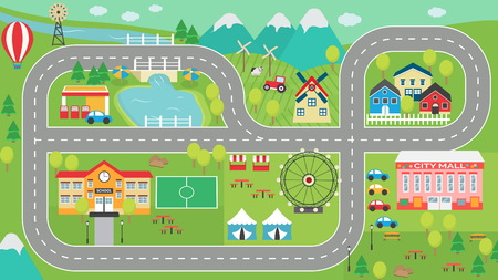 Lovely city landscape car track HD play mat for children activity and entertainment. Sunny city landscape with mountains, farm, factory, buildings, plants and endless car road.