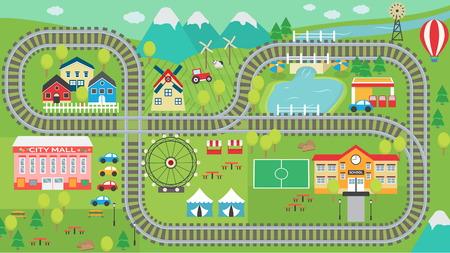 Mooie stad landschap HD trein spoor speelkleed voor kinderen activiteit en entertainment. Zonnig stadslandschap met bergen, boerderij, fabriek, gebouwen, planten en eindeloze treinrails.