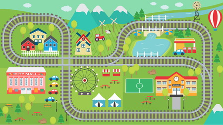 Reizende Stadtlandschaft HD-Bahnspurspielmatte für Kindertätigkeit und -unterhaltung. Sonnige Stadtlandschaft mit Bergen, Bauernhof, Fabrik, Gebäuden, Anlagen und endlosen Zugschienen.