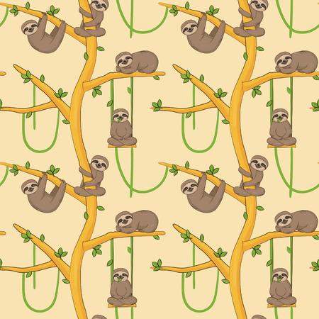 Seamless pattern with cute sloth animals hanging and resting on tropical trees. Endless nature cartoon background for gift wraps, fabric and design. Illustration