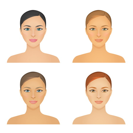 Human appearence information chart showing various kinds of women looks color types, hight and low contrast types, various skintones, hair and eyes.