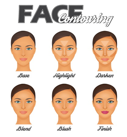 How to make perfect face contouring make-up tutorial chart. Highligter, bronzer and blush face correction techniques, pretty woman face model. Illustration