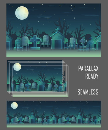 Spooky graveyard seamless parallax ready background for game and app design. Gravestone, tomb, cross, full moon, cemetry fence, crypt. Illustration