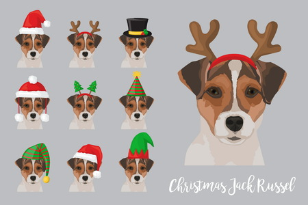 Christmas festive collection of cute jack russel puppy dogs wearing celebration new year ornament hat and headband.