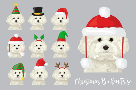 Christmas festive collection of cute bichon frise puppy dogs wearing celebration new year ornament hat and headband. Illustration