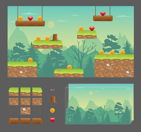 Platformer game design set, nature wood meadow, seamless layered parallax effect ready background, platforms for jumping, bonus items and decoration.