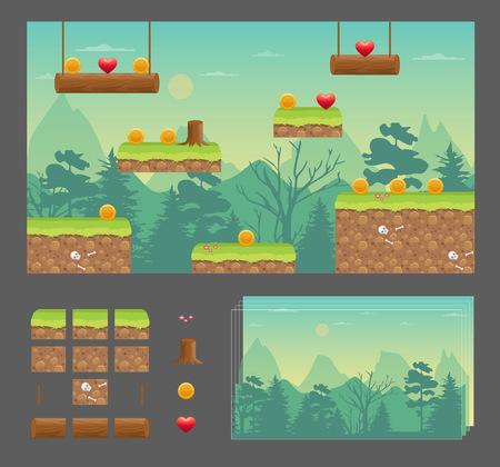 Piattaforma di gioco set di progettazione, prato naturale di natura, sfondo senza soluzione di continuità effetto parallasse, piattaforme per il salto, articoli bonus e decorazione.
