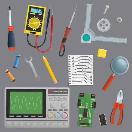 A collection of isolated objects for technology engineer workshop environment. Tools and devices for drafts computer repair and other.