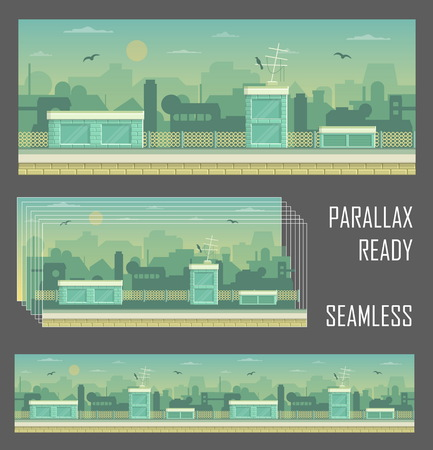Seamless layered parallax ready runner shooter game cityline background scene. Urban environment, roofs, buildings and other elements. Illustration