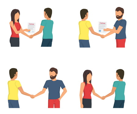Flat vector illustration set of people men and women making deals, discussing contract terms, shaking hands and sharing ideas at negotiations.