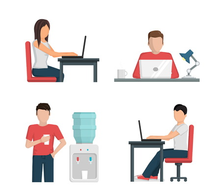 woman laptop: Flat vector illustration set of people men and women working at office, prive workplace, coworking, using laptop computer, having a break new water cooler.