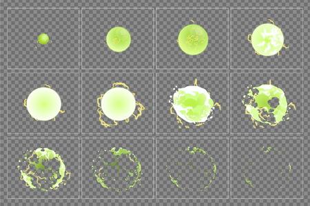 독성 폭발 특수 효과 fx 애니메이션 프레임 스프라이트 시트. 게임, 비디오 및 만화에서 플래시 애니메이션을위한 녹색 산성 독성 파워 폭발 프레임.