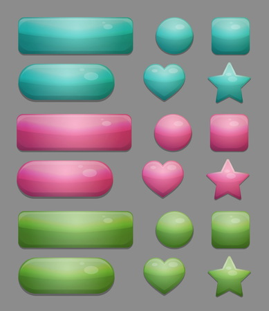 shiny buttons: Collection of shiny multicolor isolated glass bubble app buttons with various shading and texture. UI editable design elements. Illustration