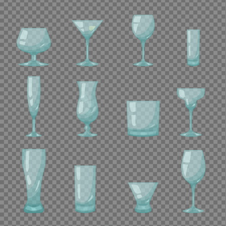 Various kinds of Empty clear crystal bar, pub, restaurant drink glasses, shot, flute glass, wineglass, coctail and beer. Isolated vector objects.