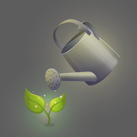 Illustration of watering can pot pouring liquid hydrating ground around the green fresh sprout, sparkling flower with leaves. Isolated vector object. Illustration