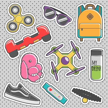 Set of fun trendy vintage sticker fashion badges with teenager fashion hype accessories. Vector illustrations for iron on patches, transfer tottoos, sew on chevron. Stock Illustratie