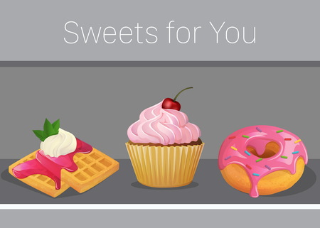 Card invitation template with sweets and desserts, cartoon vector illustration, yummy delicious cupcake with cream, doughnut and waffles with marmelade.