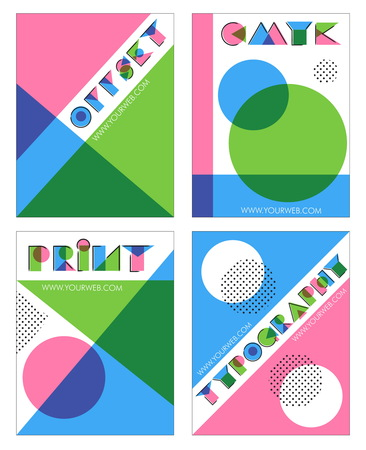 A set of retro overprint multilayered anaglyph effect designs for print and typography Illustration