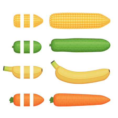 Fruit and vegetables seamless decoration brushes with ending tips, corn, banana. cucumber and carrot. Drag the element to brush pannel to create a pattern brush