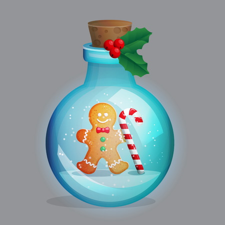 Magic potion bottle with winter new year christmas snow globe ornament decoration inside. Festive traditional gingerbread man with candy cane. Illustration