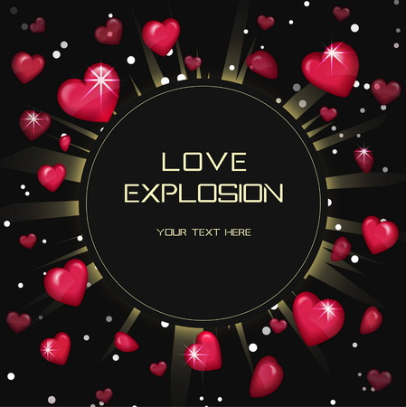 Glossy love hearts light beam lens flare explosion card template background. Flying red heart shapes explosion burst with sparkles. Saint valentine love card preset.