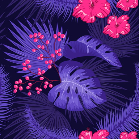 UV ultra violet luminous neon light effect pattern. Seamless repeating jungle rainforest plants, flowers and fern background, retro techno acid styling. Stock Illustratie