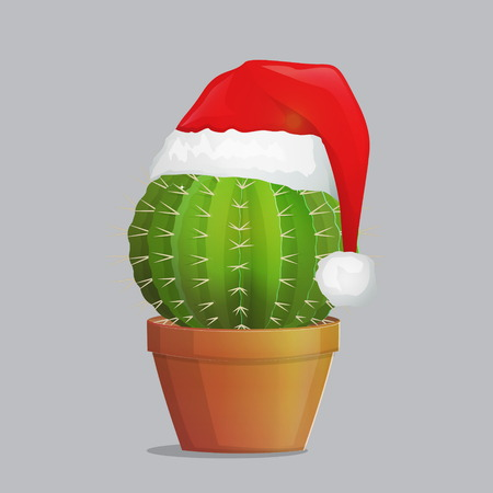 Festive season costume dressed up cactus plant in pot, christmas new year santa hat over needle succulent plant. Greeting festive illustration. Illustration