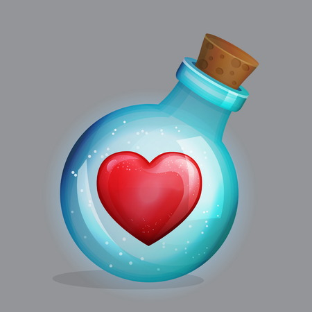 Magic potion bottle with love potion and lonely loving heart decoration inside. Festive traditional saint valentines greeting design. Illustration