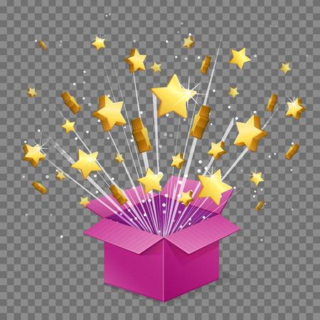 Unboxing present gift surprise box, star light beam lence flare explosion, shiny golden stars fly out of box. Bonus unlock prize winner illustration.