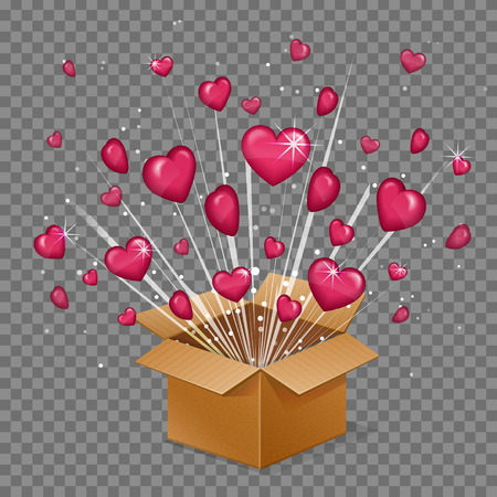 Unboxing present gift surprise love box, heart light beam lence flare explosion, love glowing hearts fly out of box. Saint valentine holiday illustration.