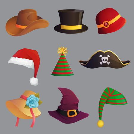 Collection festive de carnaval amusant de chapeau mignon de célébration et de déguisement, accessoire de tête et bandeau, chapeau de Santa, chapeau de cowboy et de pirate, cône de partie. Banque d'images - 90701498