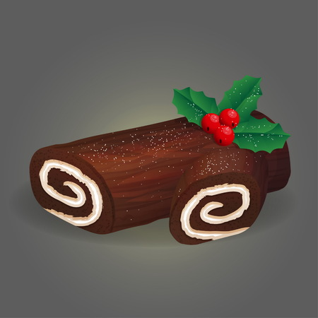 Traditional Christmas festive annual dessert pastry hand crafted and decorated roll log cake with whipped cream, chocolate ganache glaze and festive decoration.