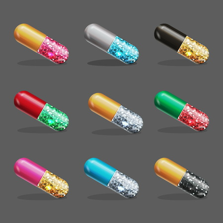Medical styled party decoration element, shiny glossy metal color pill capsule filled with glitter sparkling dust, fun party entertainment element.