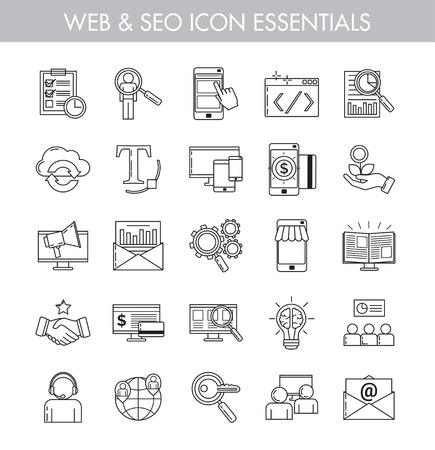 Big bundle of essential basic line art icons for seo, web, e-commerce, online business and internet marketing. Basic icon kit for web and app design.