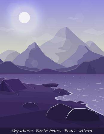 Illustration of peaceful lake. Illustration