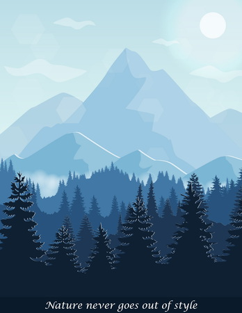 Illustration of peaceful pine forest aerial view, hills and mountains, fog landscape nature scene. Banner card illustration template.