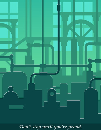 Abstract industrial manufacturing plant scene with ambient light, pipes and machinery. Web template for website header or decoration. Illustration