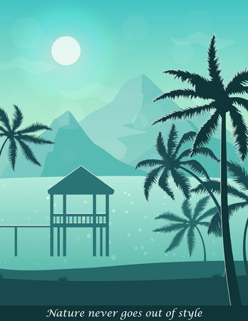 Illustration of sunny seashore beach, aerial view of a landscape with ocean, palm trees, sailing boats and a little hut in the sea. Web header banner template. Çizim