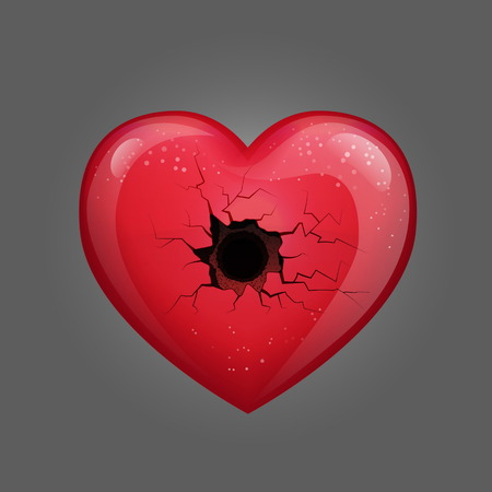 Illustration of red glossy heart with a bullet hole, broken love affection symbol with cracks. Love loss fail concept illustration. Çizim