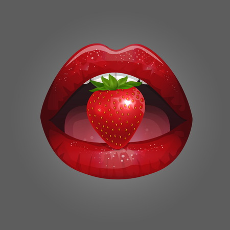 Glossy lady lips with red lipstick and strawberries. Çizim