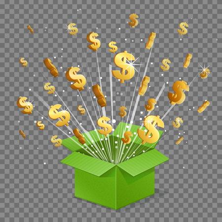 Unboxing present gift surprise box, dollar sign light beam lence flare explosion, shiny golden stars fly out of box. Bonus unlock prize winner illustration. Illustration