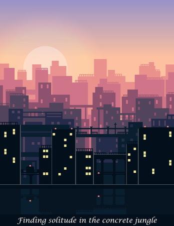 Modern urban skyline downtown aerial scene, vector silhouette banner web illustration, sun dawn romantic sky city scene with buildings. Иллюстрация