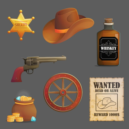 Collection of wild west sheriff accessories and objects. Cowboy hat, sheriff star badge, wanted reward poster, cargo wheel. Game and app ui icons. Çizim
