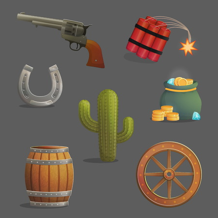 Collection of wild west travelling the desert accessories and objects. Horseshoe, loaded vintage gun and barrel of gunpowder, cargo wheel. Game and app ui icons.