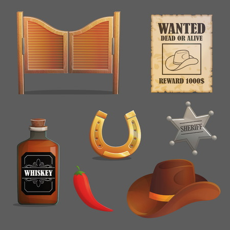 Collection of wild west saloon accessories and objects. Cowboy hat, sheriff star badge, wanted reward poster, saloon wooden gate. Game and app ui icons.